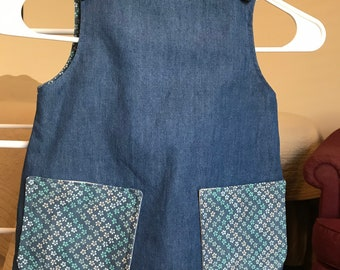Denim and Flowers Reversible Toddler Dress