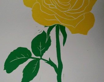 Golden Rose Print. Original Linocut Art