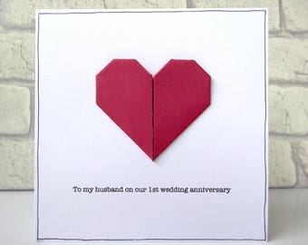 1st wedding anniversary card - personalised paper anniversary greeting card - romantic first anniversary - red origami heart - husband wife