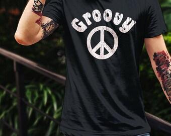 Groovy Peace Sign Retro T-Shirt Hippie 70's Vintage Design Shirt Seventies Beach Top Trendy Boho Tee Unisex