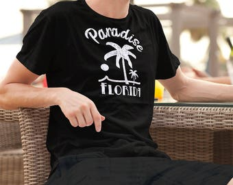 Paradise Florida Palm Tree Shirt Group or Family Vacation T-Shirt Travel Distressed Vintage Design Graphic Tee
