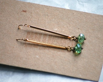 Earrings Polished Brass Faceted Drop Soft Green Crystal Modern Tri Corner Bar Clean Lines Under 20