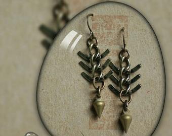 Blackened Brass Fishtail Fish Bone Earrings with Vintage Matte Brass Drop, Dangle
