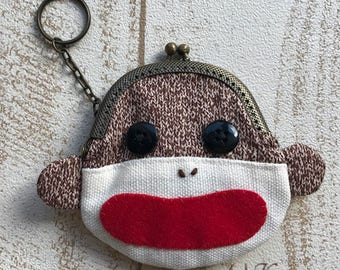 Sock Monkey Frame Purse Keychain