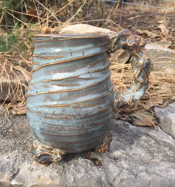 large ceramic mug in glossy blue and beige