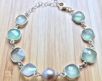 Tahitian Pearl and Sea Green Chalcedony Bracelet in Silver
