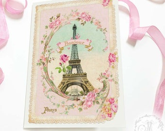 Eiffel Tower card, Bonjour Paris, French, pink, romantic, travel card, birthday card, all ocassion card, blank inside
