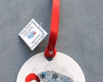 Buffalo Ornament - Round Aluminum Circle Holiday Christmas Tree Ornament - Snowy Blue Buffalo Ornament - Bison Ornament - Buffalo Gift