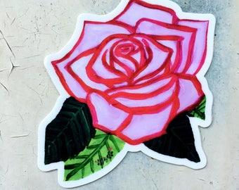 Rosa Violeta, Vinyl Rose Sticker - Waterproof Sticker, Floral Decal, Laptop Sticker, Violet Pink Rose Flower, Tattoo Style Art