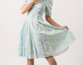 Vintage Pale Chalcedony Blue Floral Girly Dress (Size Small/Medium)