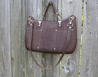 Purse /  Handbag / Crossbody Bag / Shoulder Bag / Stylish / Handmade / Chocolate Brown Denim / leather shoulder and hand straps