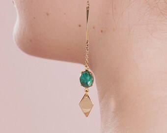 Long Green Earrings - Long Chain Earrings - Vintage Inspired Jewelry - Pointy Toes Earrings (SD1323)