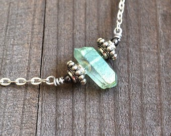 Green Quartz Point Pendant Natural Titanium Quartz Crystal Necklace Silver Wire Wrapped Crystal Silver Chain Raw Beauty