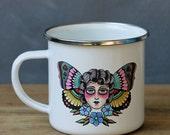 Butterfly Lady Mug   Tattoo Style Design   12 ounce Enamel Mug   Camp Mug   Enamel Mug   Tattoo Mug   Butterfly Mug   Coffee Mug