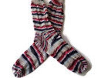 Socks - Hand Knit Men's Red, White and Blue Socks - Size 10-12  - Casual Socks - Handknit Socks