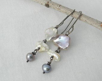 Keishi Petal Pearls Long Drop~Pink-Gold~White~Gunmetal Gray~Oxidized Wire Wrap Modern Rustic Earrings