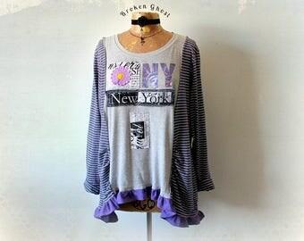 New York Shirt Recycled Clothes Purple Tunic Top Plus size Oversize Loose Fit Boho Sweatshirt Hippie Chic Shirt Bohemian Top XL 1X 'DANIELLE