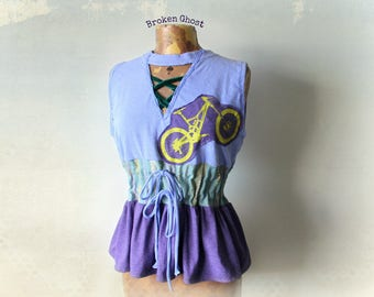 Purple Tank Top Bicycle Cycling Shirt Upcycled Top Cinch Tie Waist Criss Cross Lace Up Reconstruct T-Shirt Women's Eco Clothes M 'LAURA'