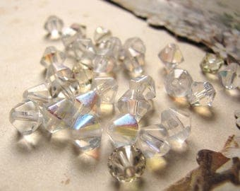 vintage 1960s AB faceted bicones - clear with AB Aurora Borealis finish - 30 beads
