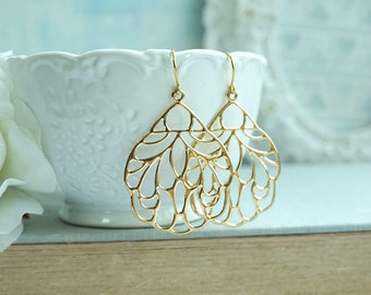 Gold Lace Earrings, Large Gold Filigree Earrings, Indian Boho Wedding, Large Moroccan Earrings, Bridesmaid Gift, Modern Large Filigree