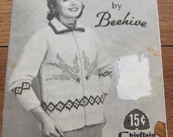 vintage beehive knitting pattern BLUEBIRD misses lady's bluebird sweater sz 14-16-18