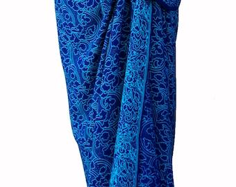 Blue Batik Sarong Women's Clothing - Beach Sarong Wrap Skirt Batik Pareo Swimsuit Cover Up Long Sarong Wrap - Blue & Turquoise Beachwear