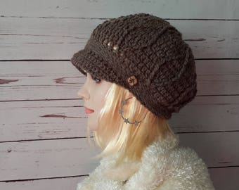 Newsboy womens visor hat Crochet Hat Buckle Beanie Brimmed hat Brimmed beanie Billed beanie Driver Cap Wool Billed hat cap winter hat