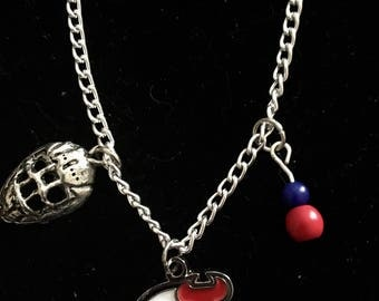 "New Jersey Devils hockey 3 charm 20 "" sivertone necklace"