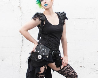 Made to Order Upcycled 3 Pocket Leather and Lace Bustle Utility Dragon Belt- Steampunk, Festival, Burlesque, Burning Man, Forest, Elf