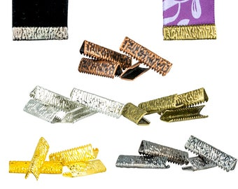 22mm or 7/8 inch NO loop Ribbon Clamps Ends Crimps - 20 pieces in Mixed Finishes - Artisan Series