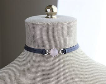 Rose Quartz Choker And/or Bracelet. 9 Leather colors to choose from