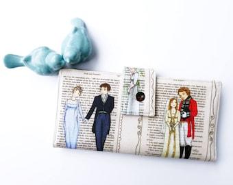 Jane Austen Wallet, Vegan wallet, Women's Wallet, Literary Gift, Book lover gift idea, Reader gift idea, Pride and Prejudice, Mr. Darcy