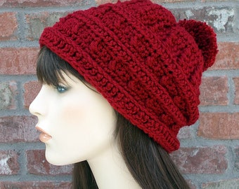 Red Slouchy Beanie, Deep Red Hat, Slouch Beanie, Hat with Pom Pom, Womens Hats, Crochet Hat, Knit Hat, Gifts for Teen Girls, Winter Hat