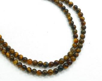 4mm Round Brown Tigereye Semi Precious Stone Beads, Full Strand