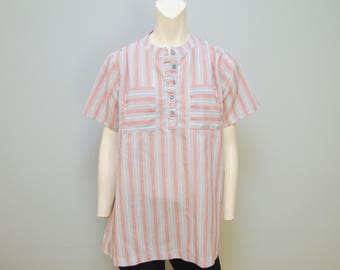 Vintage 1980's Vertically Striped Red White and Blue Collarless Maternity Blouse Tunic Shirt Top Short Sleeved Cute Retro