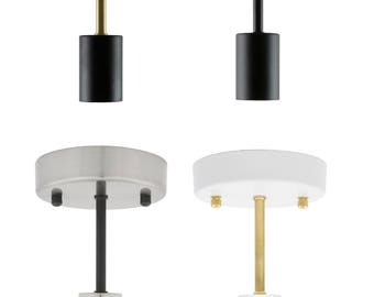 """Flush Mount Ceiling Light - 6"""" Long Stem Ceiling Flush light Fixture  - Industrial Ceiling Fixture - Semi Flush Stem Lighting"""