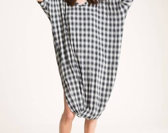 Loose Tunic Dress / Oversize Dress / Midi Dress Tunic / Twisted Dress with Large Slits/Maternity Tunic Top/Marcellamoda-MD0051