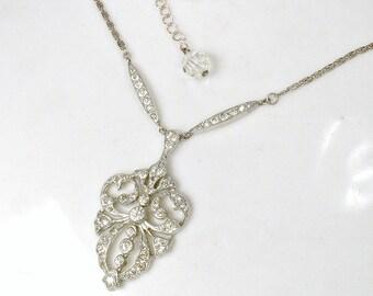 ORIGINAL 1930s French Paste Rhinestone Art Deco Necklace, Vintage Wedding Pendant/Lavaliere Bridal Necklace, 1920s Flapper Gatsby Jewelry