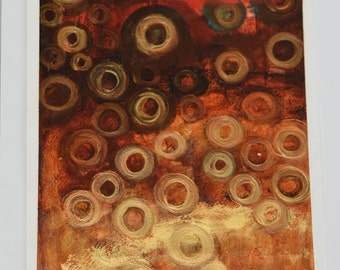 FREE SHIPPING red and gold painting on paper oil abstract 12x16 inch