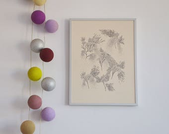 Burning bushes limited edition silkscreen print on Rosaspina paper by Gabi Bano
