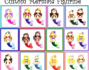 Custom Little Mermaid Ornament, Pendant, Bow Center, Purse Charm, Brooch, Magnet, Necklace, Cold Porcelain Clay Mermaid Figurine, Gift