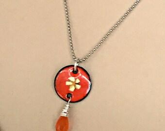 Orange Enamel Flower Charm, Gemstone Necklace