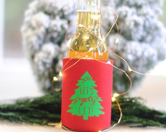 Let's Get Lit Christmas Can Coolers, Christmas party favors, Xmas Party, Ugly Sweater Party, Holiday Decor, Christmas Decorations