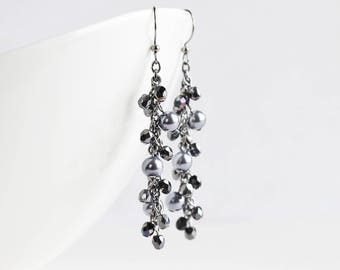 Long Black Beaded Cluster Dangle Earrings on Gunmetal Hooks
