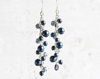 Navy Blue Pearl Cascade Cluster Beaded Earrings on Silver Plated Hooks