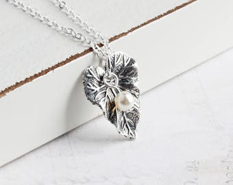 Small Antiqued Silver Leaf Necklace on Silver Plated Chain with Custom Pearl Color