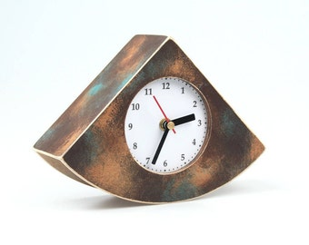 Desk Clock Brown Gold Turquoise, Wood Table Clock Unique Gift, Wooden Shaded clock, Fall home decor, Xmas Gift,