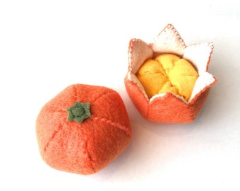 Felt food Tangerine set eco friendly children's pretend play food for toy kitchen, felt tangerine, felt fruit, toy tangerine, toy fruit