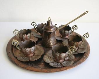 Copper Lotus Turkish Tea Set