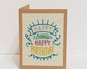 3x Happy Birthday Embroidered Greeting Card with Metallic thread